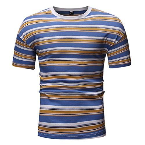 JKLEUTRW T Shirt Herren, Casual Männer Sommer Mehrfarbig Rundhals Ausschnitt Stripes Print Tops Bluse Fitness Atmungsaktives Poloshirts Langarmshirts Yoga Sportshirt - LangÄrmeliges Stretch-crewneck