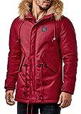 One Public MEGASTYL Herren Männer Winterjacke mit Abnehmbaren Kunstfell und Schnürdetails Rot Braun Khaki, Farbe:Rot, Größe:L
