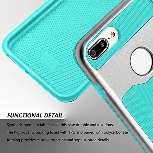 iPhone 7 plus hülle, Lantier 2 in 1 [weicher harter Tough Case][Anti Skid][Thin Slim Fit][Stoßdämpfung] Wellenmuster Rüstung Schutzhülle für Apple iPhone 7 Plus (5,5 Zoll) Silber+Pink Silver + Mint Green