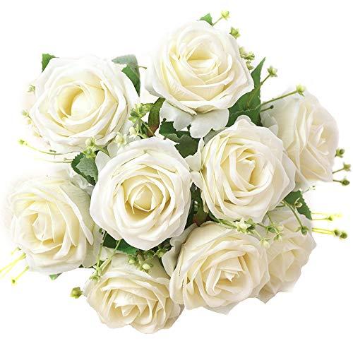 XONOR Künstliche Seide Rosen Blumen Gefälschte Braut Brautjungfer Blumenstrauß für Hausgarten Hochzeit Dekoration, 9 Kopf, 31 cm (Weiß)