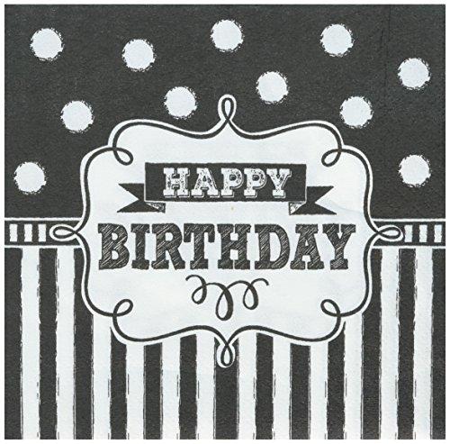 Amscan 501671 Chalkboard Birthday Beverage Napkins Party-Zubehör Papier schwarz (Birthday Schwarz Weiß-happy Und)