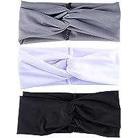 3 Stück (Schwarz+Grau+Weiß) Damen Stirnband Headwrap Kopfband Haarband Elastisch Weich Verdreht Stirnband Kopfbedeckung für Alltag Yoga Sport