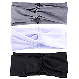 JNCH 3 Stück (Schwarz+Grau+Weiß) Damen Stirnband Headwrap Kopfband Haarband Elastisch Weich Verdreht Stirnband Kopfbedeckung für Alltag Yoga Sport
