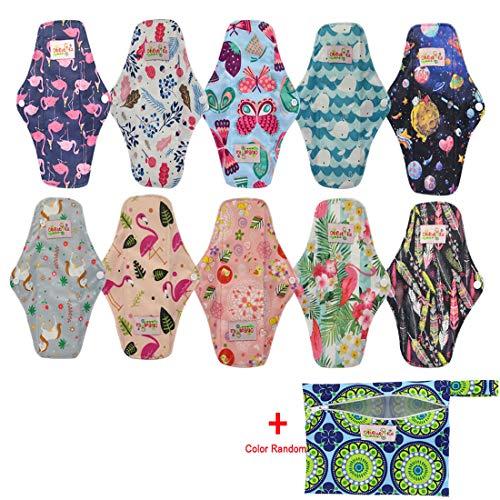 OHBABYKA, wiederverwendbare Damenbinden/Menstruationsbinden aus Bambus-Stoff (M, 10pcs-muilts)