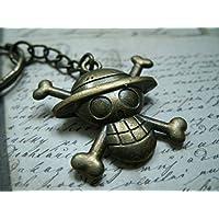 Llaveros de bronce de metal que representa el logotipo de One Piece