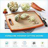HomeCare Double-Sided Bamboo Wooden Vegetables and Fruit Chopping - Cutting Board with Non-Slip Plastic Holding Handles (37.8 * 30.2 * 1.3 C.M.) - Mega