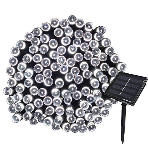 Ollny Solar-Lichterkette, wasserdicht, dekorative Lichterkette für Zuhause, Terrasse, Rasen, Hof, Zaun, Urlaub, Festival, 20 m, 200 LEDs, 8 blinkende Modi, kaltweiß -
