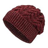 Weiche Damen Alpaka Mütze aus 100% Alpaka Wolle in 6 Farben - Hochwertige Winter Strickmütze/Beanie Wollmütze von HansaFarm, Weinrot - HF179, Einheitsgröße