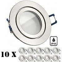 10er IP44 LED Einbaustrahler Set Silber gebürstet mit LED GU10 Markenstrahler von LEDANDO - 5W - warmweiss - 120° Abstrahlwinkel - Feuchtraum / Badezimmer - 35W Ersatz - A+ - LED Spot 5 Watt - Einbauleuchte rund