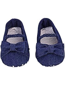 Hongfei Zapatos para niñas pequeñas Denim Bowknot Soft Sole Princess Shoes