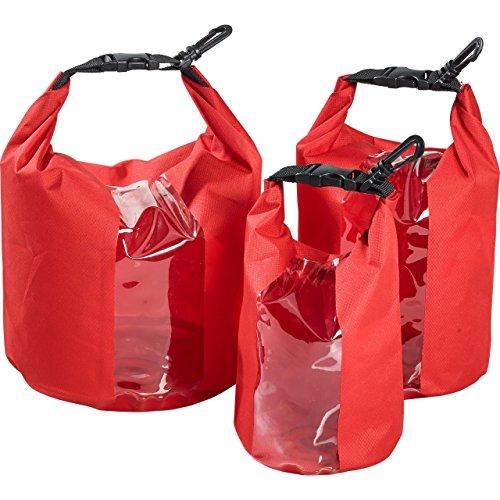 QBag Motorrad Hecktasche 3er Set Innentaschen/Gepäckrollen, praktisch, wasserdicht, leichtes Material, Rot, 3 Liter, 5 Liter, 7 Liter