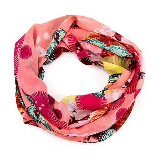 ManuMar Loop-Schal für Damen | Hals-Tuch mit Schmetterlinge-Motiv als perfektes Sommer-Accessoire | Schlauch-Schal in Rosa Pink Blau - Das ideale Geschenk für Frauen