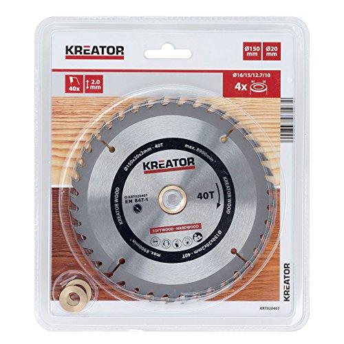 KRT020407 HSS Hartmetall Kreissägeblatt für Holz Ø150mm Bohrung 20mm Dicke 2mm Zähne 40 Holzsägeblatt + 4 Reduzierringe