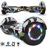 Magic Vida Skateboard Électrique 6.5 Pouces Bluetooth Puissance 700W avec Pneu à LED Gyropode Auto-Équilibrage de Bonne qualité pour Enfants et Adultes(Vert Camouflage