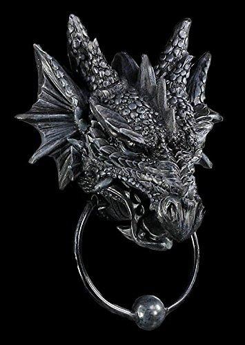 Türklopfer mit Drachenkopf schwarz | Drache Figur Gothic Deko
