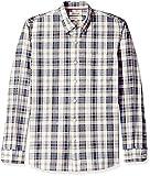 Goodthreads Herren Freizeithemd Standard-fit Long-sleeve Pattern Chambray, Blau (Denim Ivory Plaid Den), Gr. Large