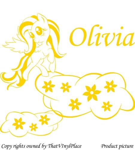 personaliced My Little Pony Adesivi, Nuvole, fiori 60x 55cm, colore giallo, Nome, Qualsiasi Nome, Disney, per camera da letto, stanza dei bambini, Vinile auto adesivi, Windows e adesivi da parete, Muro di Windows Art, decalcomanie, Ornamento vinile