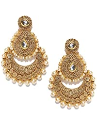 PANASH Gold-Plated Traditional Chandbali Long Pearl Kundan Ethnic Antique Earrings For Women and Girls