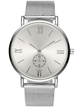 JSDDE Uhren,Elegant Damen Unecht Chronograph Römische Ziffern Design Armbanduhr Silber Mesh Metallarmband Analog...