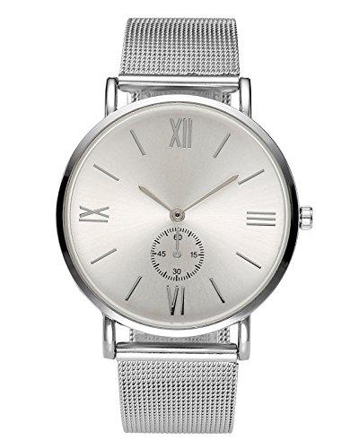 JSDDE Uhren,Elegant Damen Unecht Chronograph Römische Ziffern Design Armbanduhr Silber Mesh Metallarmband Analog Quarz Uhr