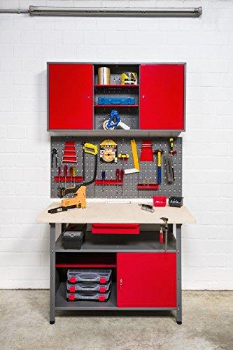 Kreher XXL Werkstatt aus Metall. Werktisch mit abschließbarer Tür und Schublade, Werkzeuglochwand 17 Teile und Werkzeugschrank aus Metall zum Aufhängen mit Böden. -