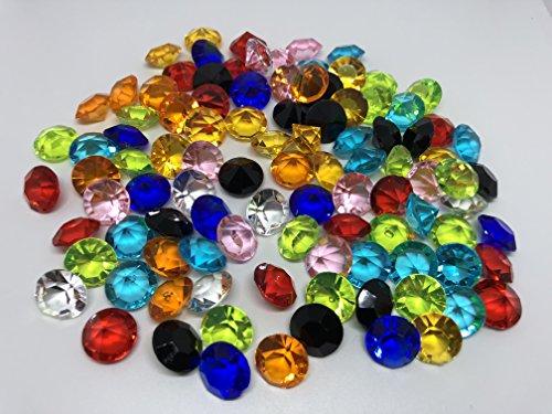 100 Stück 15mm große bunte Deko-Diamanten Brillianten Strasssteine Acryl-Steine bunt transparent klar kristall basteln Gltzersteine Schmuck-Steine Strass-Steine zum Verzieren Dekorieren Streu-Deko Tisch-Deko von CRYSTAL KING