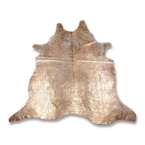 Premium Kuhfell-Teppich - L233 x B215 cm - sand beige gold gesprenkelt - einmaliges Naturprodukt aus Südamerika