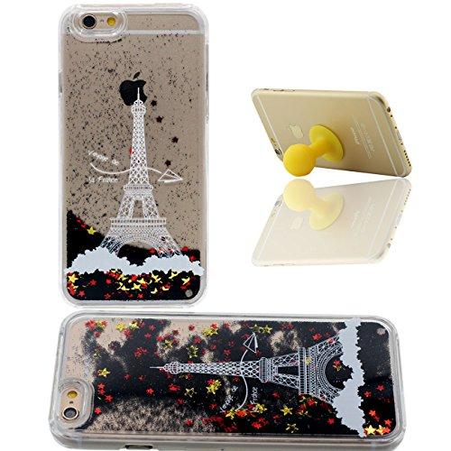 iPhone 6S Coque Étui de Protection pour Apple iPhone 6 6S 4.7 inch Sable Noir Étoiles Couler Dur Transparente Eau Liquide Pissenlit Amoureux Modèle iPhone 6 Case avec 1 Silicone Titulaire color-6