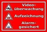 Video-Überwachung Schild - Videoüberwachung - Aufzeichnung - Alarmgesichert – 30x20cm mit Bohrlöchern | stabile 3mm starke Aluminiumverbundplatte – S00348-010-D – Kamera-Überwachung +++ in 20 Varianten erhältlich