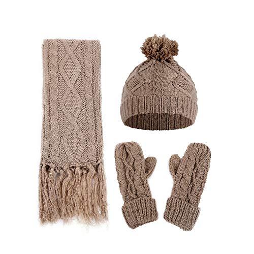 ützen-Set, für Damen, für den Winter, mit warmem Punkt, Schal und Handschuhen, Khaki ()