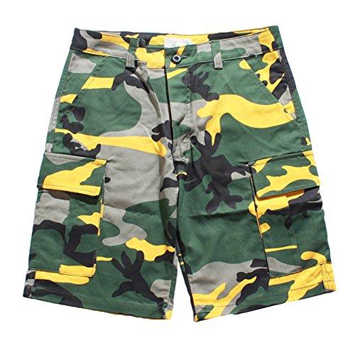 Mxssi Camouflage Cargo Männer Shorts Hip Hop Tanzen Jungen Flut Shorts Gelb 2XL -