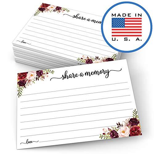 321Done Share a Memory-Karte, Blumenmuster, 4 x 15 cm, für Hochzeit, Trauerfeier, Abschlussfeier, Brautparty, Feier des Lebens, hergestellt in den USA, Weiß, 50 Stück (Memory Match-karten)