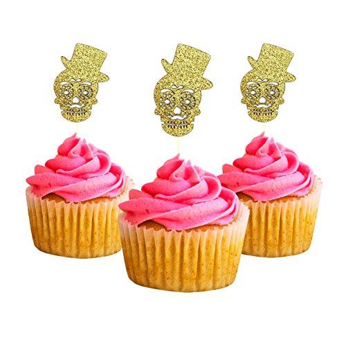 Tag der Toten mexikanischen Fiesta Catrina und Catrin Cupcake Topper 12Pack Cupcake Topper Dekoration Kuchen Gold (Fiesta Kuchen)