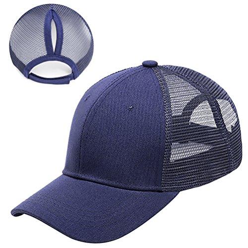 Lamdgbway Baseballkappe Justierbare Messy Pferdeschwanz Brötchen Hut Marineblau