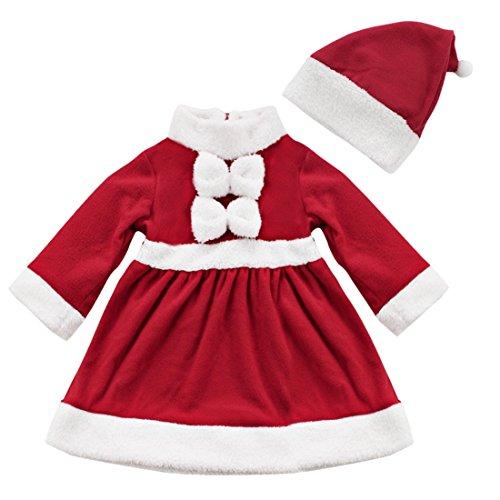 Tiaobug Baby Mädchen Kleidung Weihnachten Fleece Kleid Weihnachtskleid Weihnachtskostüm mit Weihnachtsmütze Rot Rot 74-80/6-12 (Weihnachten Vorbei Kostüm)