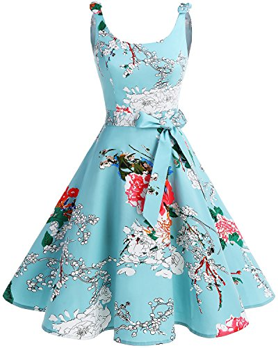 bbonlinedress 1950er Vintage Polka Dots Pinup Retro Rockabilly Kleid Cocktailkleider Green Flower S -