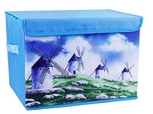 Reizbaby Cartoon Druck Oxford Stoff Kinder Aufbewahrungsbox, Spielzeug Container mit Deckel, Schmutz Aufbewahrungsbox (blau)