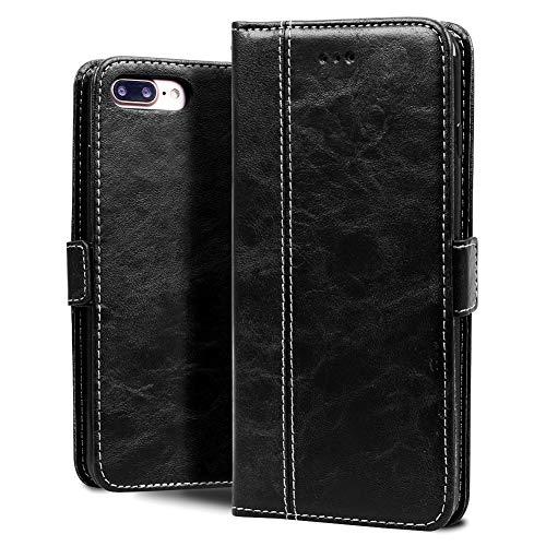 """Sinjoro iPhone 8 Plus Hülle,iPhone 7 Plus Hülle, Premium Leder Tasche Handyhülle Etui Klappetui Brieftasche mit [Kartenfächer] [Standfunktion] für Apple iPhone 8 Plus/iPhone 7 Plus 5,5"""" (Schwarz)"""
