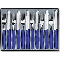 Victorinox 12 teiliges Besteck-Set (6 Tafelmesser mit Wellenschliff, 6 Gabeln, Spülmaschinengeeignet) blau
