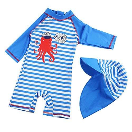 G-Kids Kinder Jungen Badeanzug Bademode Einteiler UPF 50+ UV Schützend Schwimmanzug mit Sonnenhut (M/ 85-95cm) -