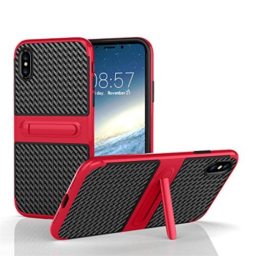 iPhone X Tasche lifeepro TPU + PC Hybrid Slim stoßfest Schutzhülle mit Standfunktion für iPhone X Rosa rot