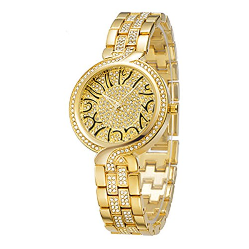 Fashion Casual Diamond Women Es Unique Font Mode Quarz Uhr Girls Watch,Gold (Kids-uhren)