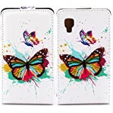 Butterfly Handy Tasche Flip Case Schutz Hülle für LG E440 Optimus L4 II 2 Flower Design Muster OJC-578 Cover Etui Bag Neu