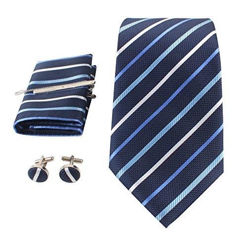 Herren Krawatten set mit ManschettenKnöpfe, Einstecktuch und Krawatte Bar Geschenk Set (Dog Blue Tie Seide)