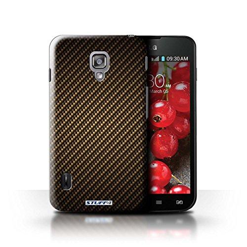 Kobalt® Imprimé Etui / Coque pour LG Optimus L7 II Dual / Pourpre conception / Série Motif de Fibre de Carbone Or
