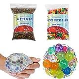 TOAOB 50000pcs Mini und 250pcs XXL Aqualinos Perlen Wasserperlen Gelperlen Wachsende Kristallboden für Sensorische und als Deko für Blumenvase