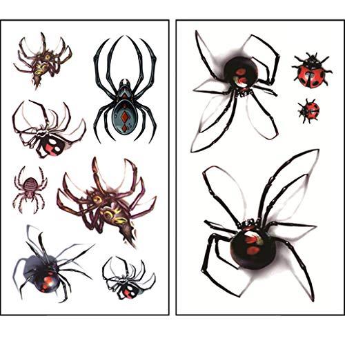 Arichtop 2 Blätter Sexy temporäre Tätowierung wasserdicht gefälschte Spinnen ()