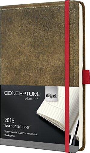 Sigel C1855 Wochenkalender 2018, ca. A5, Hardcover, Vintage, Leder-Optik braun, CONCEPTUM - auch in A6