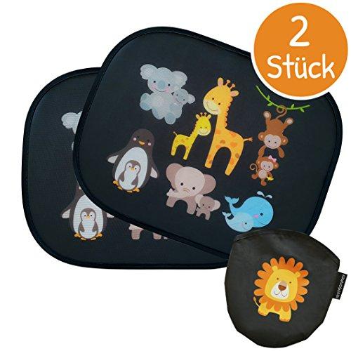 myMonkey Sonnenschutz - Universal Auto Sonnenschutz für Kinder - Autofenster Sonnenblende mit Tiermotiven für Babys - [2 Stück] Selbsthaftender Autosonnenschutz inklusive Tasche