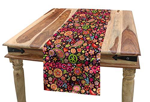 ABAKUHAUS toll Tischläufer, Hippie Paisley Blätter, Esszimmer Küche Rechteckiger Dekorativer Tischläufer, 40 x 180 cm, Mehrfarbig -